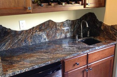Custom Granite : Custom Granite Countertop Backsplash with Raw Edges